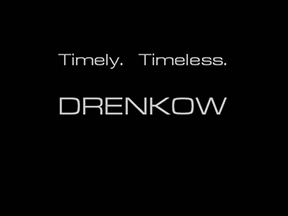 Drenkow Fashion title card. Timely. Timeless.