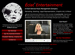 Eclat Entertainment home page, with classic Man in the Moon video