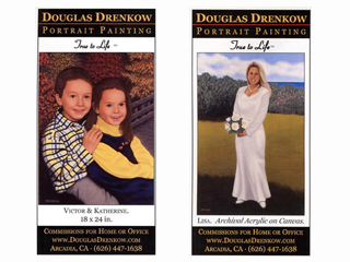Four-Color Ads of Children and Bride in Portrait Paintings