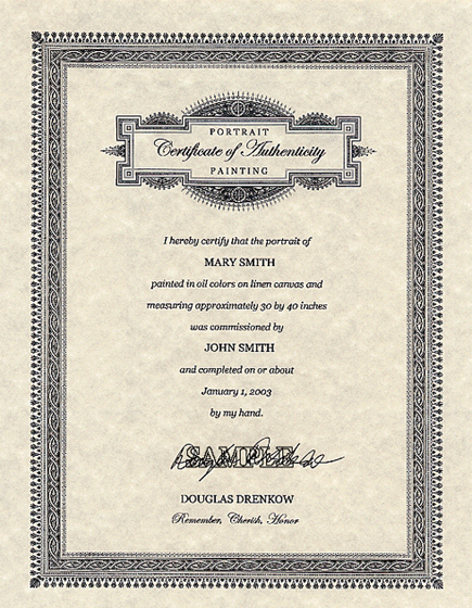 Sample Certificate of Authenticity for Portrait Painting