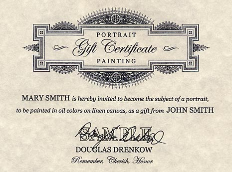 Sample Gift Certificate for Portrait Painting